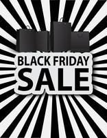 Venda de sexta-feira negra com sacolas de compras. Venda de pôster vetor