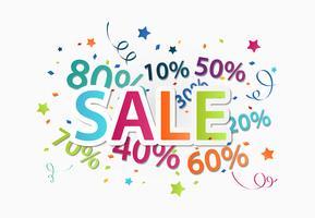 Celebração de venda com desconto percentual vetor