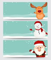 Conjunto de banner de Natal. com papai noel, rena e boneco de neve vetor