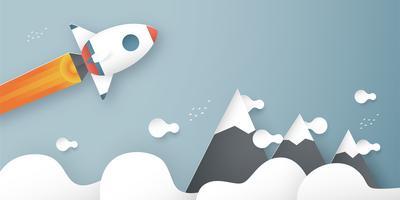 Ilustração vetorial com arranque de conceito em estilo de corte, artesanato e origami de papel. Foguete está voando no céu azul. Modelo de design para banner da web, cartaz, capa, propaganda. Artesanato de arte 3D para crianças. vetor