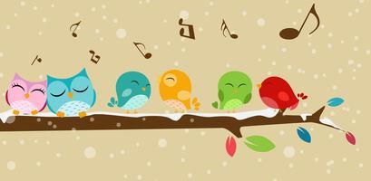 Pássaros cantando no galho vetor