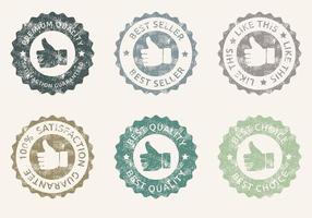 Conjunto de vetores grunge thumbs up badges
