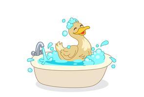 Pato, tendo, banho, caricatura vetor
