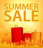 projeto de venda de verão com sacola de compras vetor