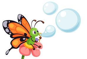Linda borboleta soprando bolhas vetor