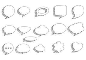 Pacote de vetores de bolhas do discurso esboçado