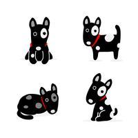 Conjunto de cão bonito dos desenhos animados. Ilustração vetorial