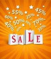 Design de cartaz de venda com sacolas de compras e desconto percentual vetor