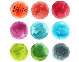 Conjunto de mancha de aquarela. Pontos em um fundo branco. Textura de aquarela com pinceladas. Rodada, círculo. Laranja, vermelho, azul, Borgonha, turquesa, verde, cinza ... Isolado. Vetor. vetor