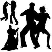 Silhuetas de dançarina negra vetor