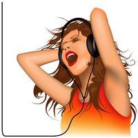 Jovem mulher usando fones de ouvido e cantando vetor
