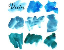 Conjunto de mancha de aquarela. Pontos em um fundo branco. Azul, turquesa. Textura de aquarela com pinceladas. O céu. Isolado. Vetor. vetor