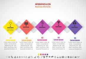 Processo de cronograma de negócios infográfico e modelo de ícones. Conceito de negócio com 5 opções, etapas ou processos. Vetor.