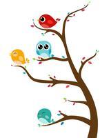 Pássaros, sentando, ligado, árvore vetor