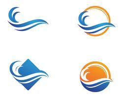 logotipo da praia onda vetor