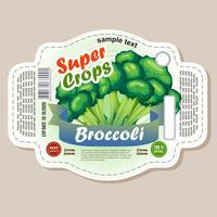 etiqueta da etiqueta dos brócolos vetor