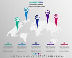 Negócio de infográfico Grupo-alvo no mapa-múndi. mapa do mundo e ícones de marketing podem ser usados para layout de fluxo de trabalho, diagrama, relatório, .Vector. vetor
