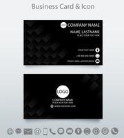 Modelo de cartão de visita criativo moderno e ícone. Fundo preto geométrico em relevo.