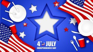 4 de julho feliz dia da independência EUA. Projete com colher, prato, forquilha, faca, utensílios de mesa de vidro de papel e estrela da bandeira americana no fundo azul Vetor. vetor