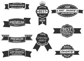 Qualidade Premium e etiquetas de garantia com estilo vintage retrô vetor