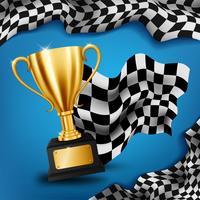 Troféu de ouro realista com bandeira quadriculada, fundo de campeonato de corrida, ilustração vetorial