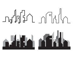 Skyline da cidade moderna. silhueta da cidade. ilustração vetorial no apartamento vetor