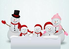família de boneco de neve fundo de Natal vetor