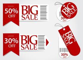 Desconto de porcentagem de promoção vermelho de cartão de venda vetor