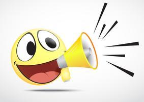 Emoticon com alto-falante vetor