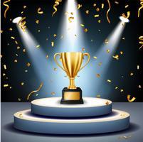 Troféu de ouro realista no palco com holofotes de cair e iluminados de confete dourado, ilustração vetorial