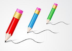 lápis colorido isolado no branco vetor