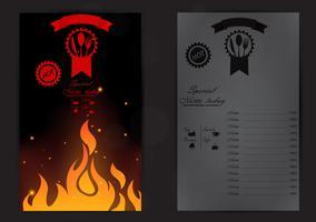 Design de menu de restaurante com chama vetor