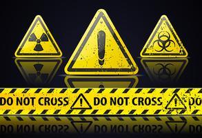 Conjunto de sinais de aviso vetor