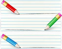 Conjunto de banners com lápis colorido vetor