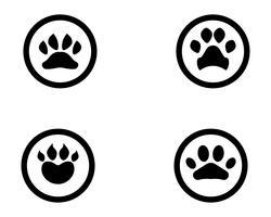 Logotipo de animal de estimação de cão de impressão de pé e símbolos vetor