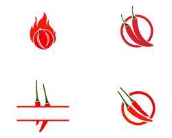 Logotipo de modelo de vetor de pimenta e símbolo