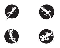 Lagarto camaleão lagarto preto silhueta vector