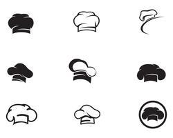 Logotipo de chapéu de chef e símbolos ícone de vetor de cor preta