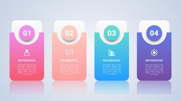Modelo de cronograma infográfico para negócios com quatro etapas Etiqueta multicolor vetor