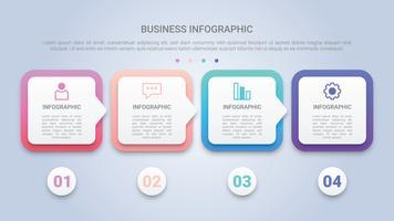 Modelo 3D de infográfico para negócios com quatro etapas etiqueta multicolor vetor