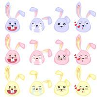 conjunto de emoji de coelho