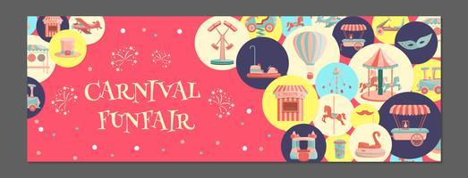 Banner horizontal com ícones de parque de diversões em círculos coloridos.