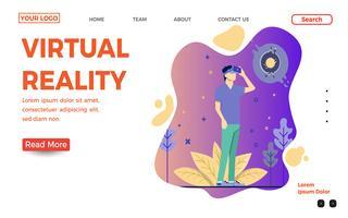 Modelo de página de destino de realidade virtual vetor