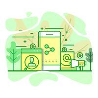 radiodifusão moderna ilustração plana cor verde vetor