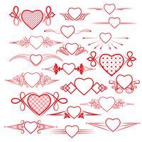 Conjunto de divisores com a imagem do coração. Vetor