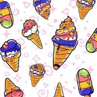 padrão sem emenda de elemento de sorvete vetor