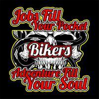 citações de motociclistas com vetor de desenho de mão de caveira