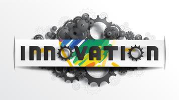 Palavra de inovação na etiqueta de corte de papel vetor