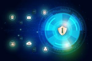 Ícone de escudo em dados digitais de segurança de tecnologia abstrata e fundo de rede global de segurança, ilustração vetorial
