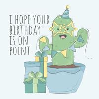 Cartão de feliz aniversario dos cactos vetor
